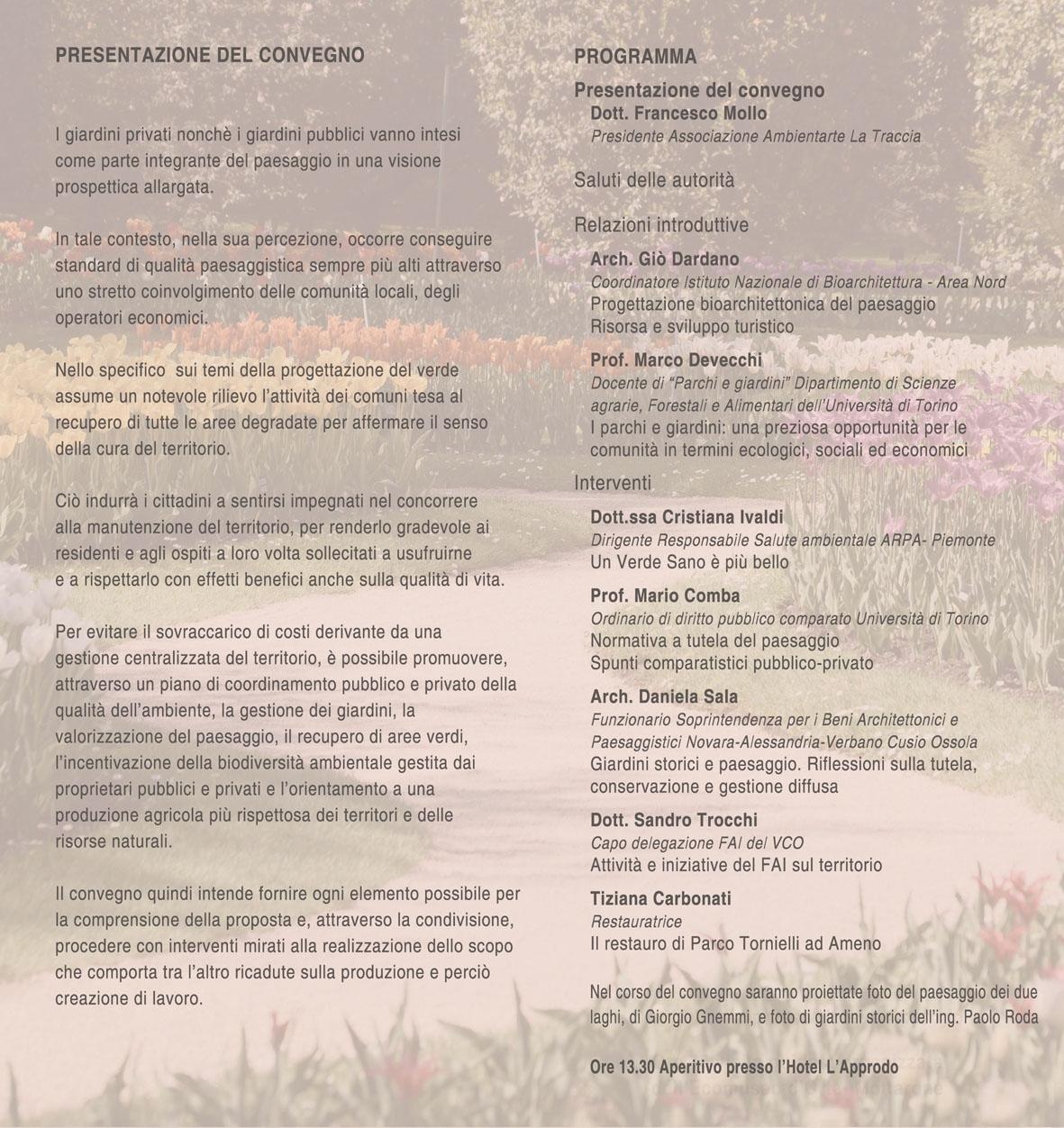 Programma del convegno su architettura dei giardini nel for Programma progettazione giardini